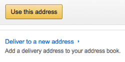Conversion Rate Optimisation; Sales optimisation; Content; Ecommerce; Amazon Add Delivery Address Screenshot